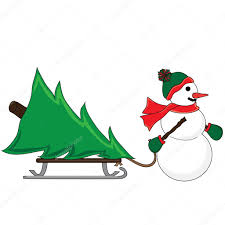 clip art illustration of a snowman pulling a christmas tree on a s