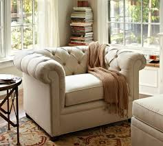Upholstered Armchairs Living Room Chesterfield Upholstered Armchair Pottery Barn