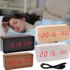 desk alarm clock modern wooden wood usb aaa digital led desk alarm clock calendar