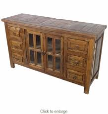 wood buffet with glass panel doors and 6 drawers