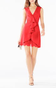 lace blocked ruffle dress