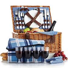 wine picnic baskets vonshef 4 person wicker picnic basket set with