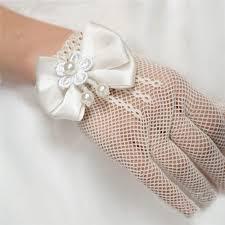 communion gloves 1 pair kids white lace faux pearl fishnet gloves communion