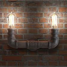 vintage wrought iron water pipe wall lamps industrial loft wall
