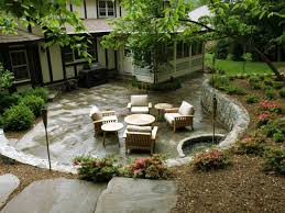 Retaining Wall Patio Design Sunken Flagstone Patio And Retaining Wall Contemporary Patio