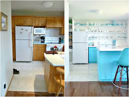 Before And After White Kitchen Cabinets A Budget Friendly Turquoise Kitchen Makeover Dans Le Lakehouse
