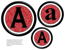 6 inch black red glitter circle printable banner lette