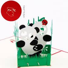 creative handmade cartoon panda 3d pop up greeting card birthday