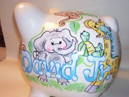 personalized baby piggy banks personalized piggy bank baby animals 2 boy pastels handpainted