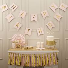 Gold And Pink Party Decorations Pink Happy Birthday Foiled Bunting Pastel Perfection Ginger Ray