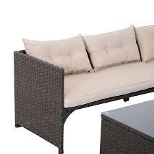 Rattan Patio Furniture Rattan Garden - aosom outsunny 3pc garden patio sofa set pe rattan wicker deck