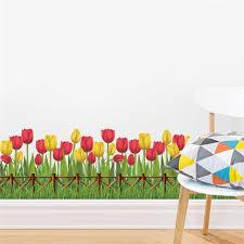 stickers fenetre cuisine tulipe fleur plantes stickers muraux accueil jardin fenêtre cuisine