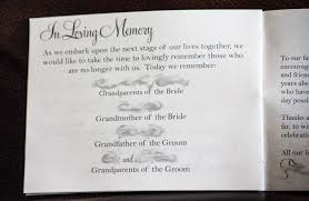 sle of wedding programs wedding program memorial wording wedding ideas 2018