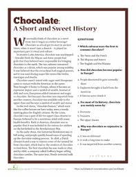 reading comprehension 4th grade the history of chocolate worksheets history and chocolate