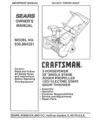 craftsman 536 884351 20 inch snow blower owners manual