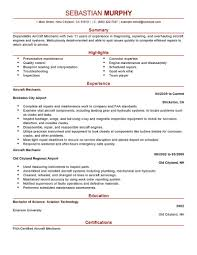 Best Resume Format For B Com Freshers by Best Aircraft Mechanic Resume Example Livecareer