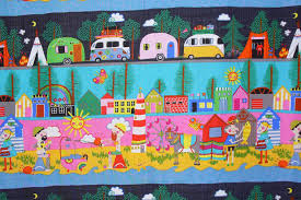 Retro Campers by Alexander Henry Happy Campers Whimsical Camping Striped Style