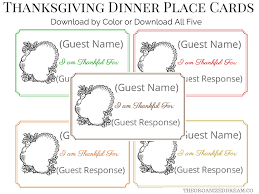 thanksgiving dinner place cards labels tags the organized dream