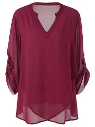 split neck adjustable sleeve plus size blouse in wine red 5xl