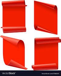 paper ribbons ribbons set realistic glossy paper ribbon vector image