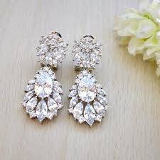 drop earrings wedding bridal drop earrings marquise cubic zirconia teardrop bridal