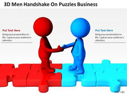 business people walking on puzzles powerpoint templates free