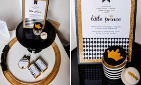 white gold and black little prince baby shower le lait gender