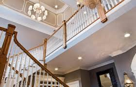 Foyer Chandelier Height Chandelier 2 Story Foyer With Curved Iron Railings And