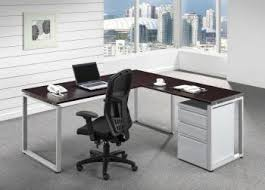 L Shaped Desk L Shaped Desk With Silver O Legs And Metal Drawers