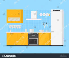 modern interior kitchen room yellow tones stock vector 452036134 modern interior kitchen room in yellow tones kitchen utensils and appliances in the background tiles