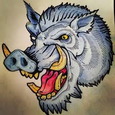 traditional blue color roaring wild pig head tattoo design