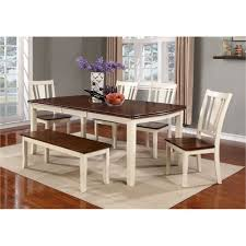 dining room table and bench 6 piece dining set with bench dover white and cherry rc willey