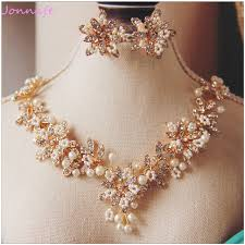wedding necklace pearls images Jonnafe charming gold flower wedding necklace earrings pearls jpg