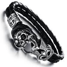 black leather skull bracelet images Black genuine leather skull bracelet haquil store jpg