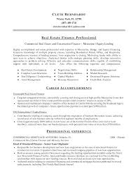 Finance Objective For Resume Commercial Real Estate Resume Resume For Your Job Application