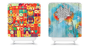 Colored Shower Curtain Brilliant Bright Orange Fabric Shower Curtain Blue Curtains With