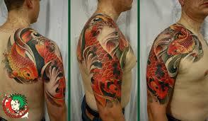 Koi Half Sleeve - colored ink koi half sleeve tattoos for