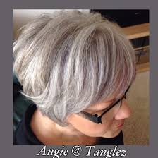 gray and silver lowlights in white hair maturehair shorthaircuts