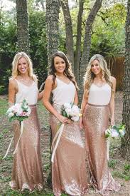 cheap country rose gold sequins maxi skirts and strap white tops