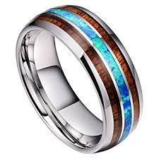 wood inlay wedding band doux 8mm mens tungsten carbide ring real blue opal koa wood