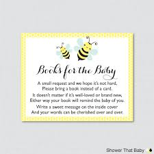 bumble bee baby shower printable bring a book instead of a