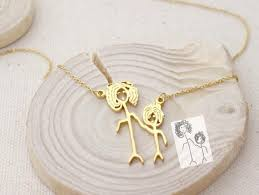 Personalized Photo Jewelry Personalized Drawing Necklace U2013 Blue Digger