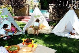 Backyard Teepee Outdoor Kids Teepee Party Ideas