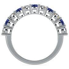 Diamond Sapphire Wedding Ring by Eleven Diamond U0026 Sapphire Wedding Ring In White Gold