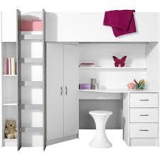 lit surélevé avec bureau lit mezzanine avec plan de travail armoire étagères prix promo