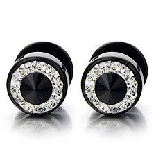 mens stud earrings 8mm mens black stud earrings stainless steel illusion