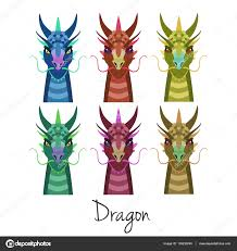 vector colored dragon head set animal of chinese zodiac symbol