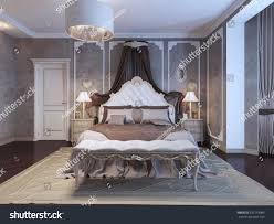 neoclassical bedroom frame molding on walls stock illustration
