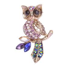 vintage silver owl brooches for men women flowers hat accessories