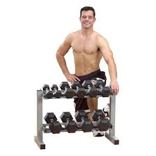 Body Solid Preacher Curl Bench Solid Powerline 32 Inch Dumbbell Rack
